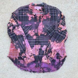 CUSTOM CLOTH & STONE Bleach Color Tie Dye Shirt S